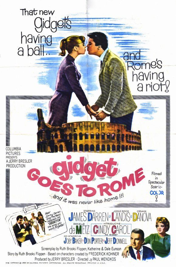 GIDGET GOES TO ROME Movie POSTER 11x17 Cindy Carol James Darren Jeff Donnell