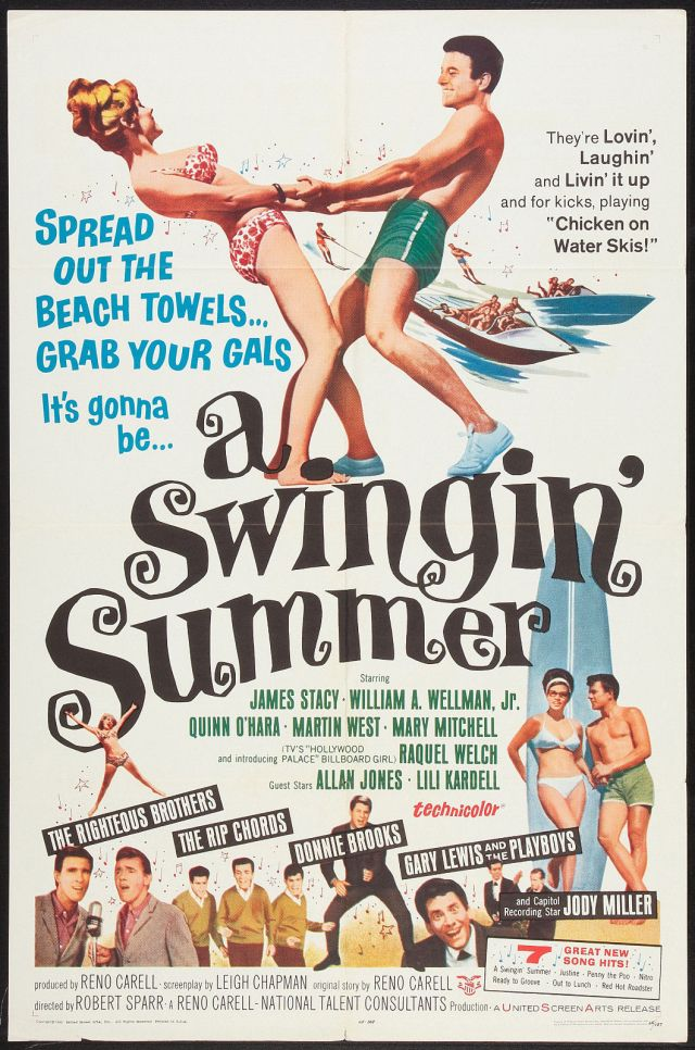 A SWINGIN' SUMMER original 1965 movie poster RAQUEL WELCH:THE RIGHTEOUS BROTHERS
