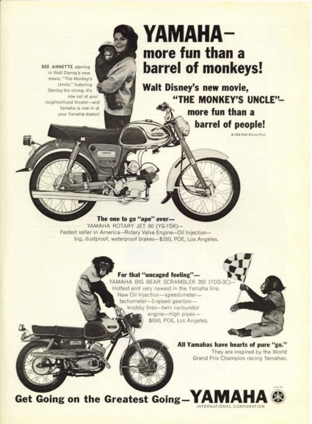 Annette Funicello ~ Monkey's Uncle ~ Yamaha ad