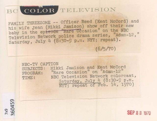 Mikki Jamison Actress Kent McCord Rare Occasion NBC Hollywood Press Photo-2