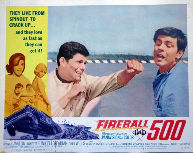 FIREBALL 500 1966 Lobby Card comedy Frankie Avalon Annette Fabian hot rod race