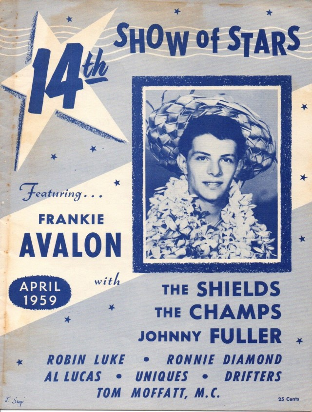 frankie avalon 1959 SHOW OF STARS CONCERT PROGRAM FRANKIE AVALON THE DRIFTERS CHAMPS SHIELDS
