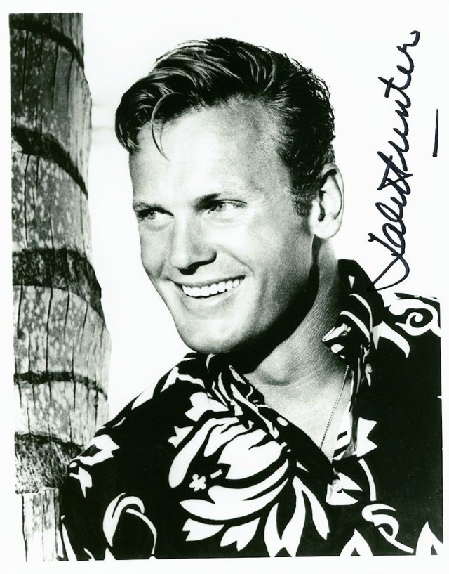 Ride The Wid Surf TAB HUNTER SIGNED 8X10 PHOTOGRAPH WEARING HAWAIIAN SHIRT