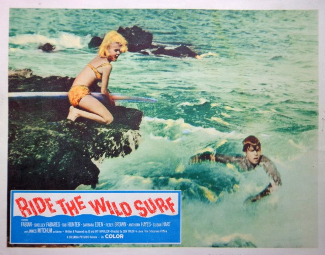 Ride The Wild Surf movie lobby card poster Barbara Eden vtg 1964 beach pinup