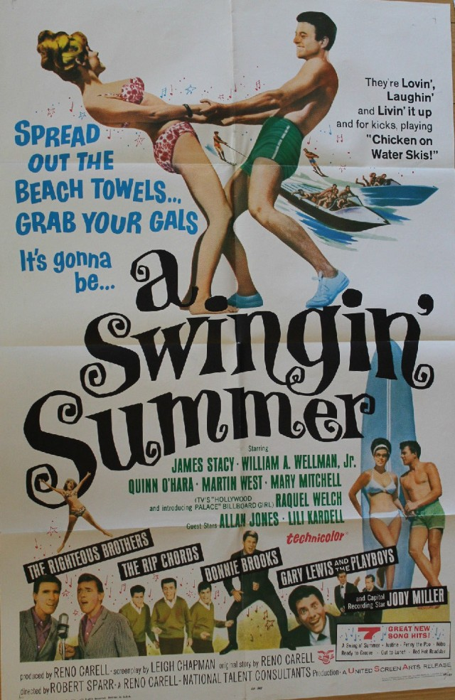 SWINGIN' SUMMER 1965 Surfing Beach Party ORIGINAL 27x41in. Lithograph POSTER