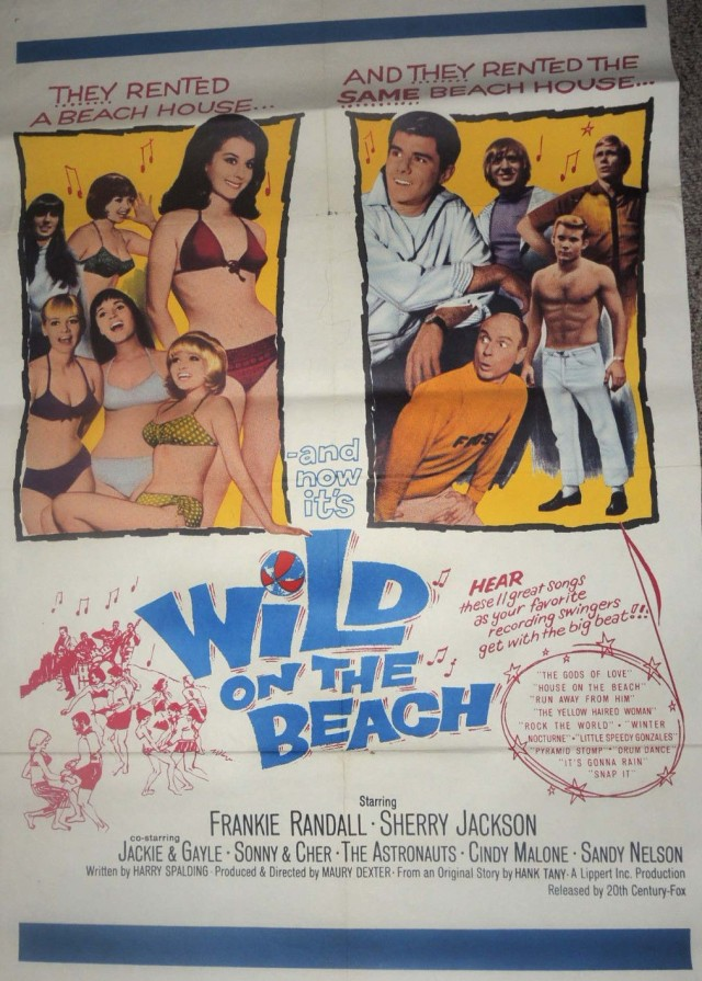 Vintage MOVIE POSTER 1965 Wild On The Beach Rock Teen Beach Party 1 Sheet
