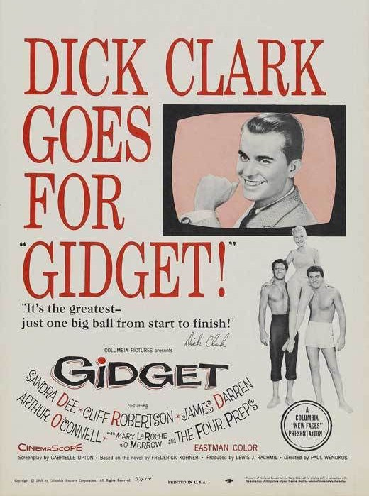 GIDGET Movie POSTER 27x40 C Sandra Dee James Darren Cliff Robertson Mary Laroche