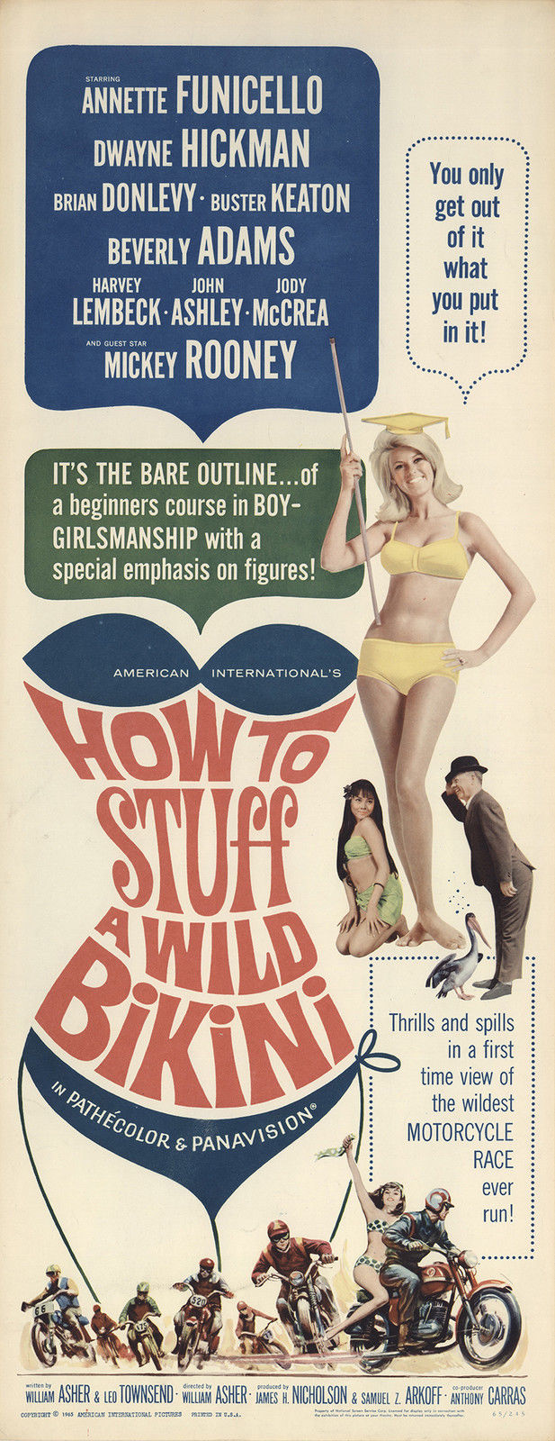 How to Stuff a Wild Bikini 1965 Original Movie Poster Comedy Musical