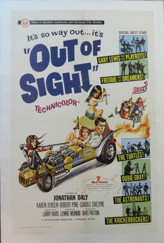 OUT OF SIGHT 1966 ORIGINAL VINTAGE 1-SHEET MOVIE POSTER LINEN BACKED MINT COND2