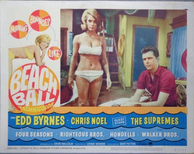 Beach Ball lobby card movie poster vtg 1965 Edd Byrnes Chris Noel pin up bikini