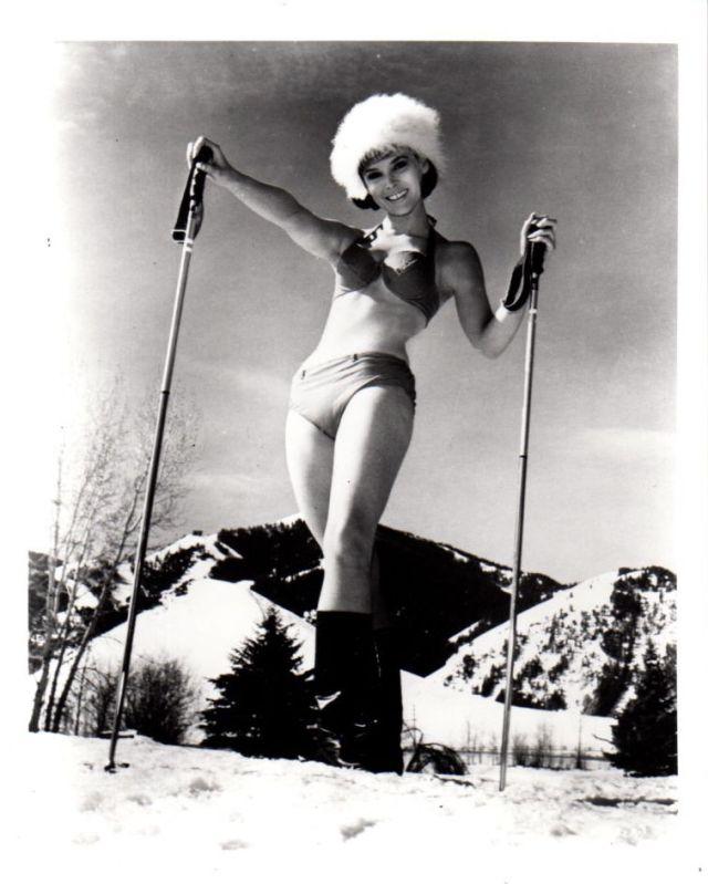 Ski Party Yvonne Craig Leggy Skiing 8x10 photo P9922