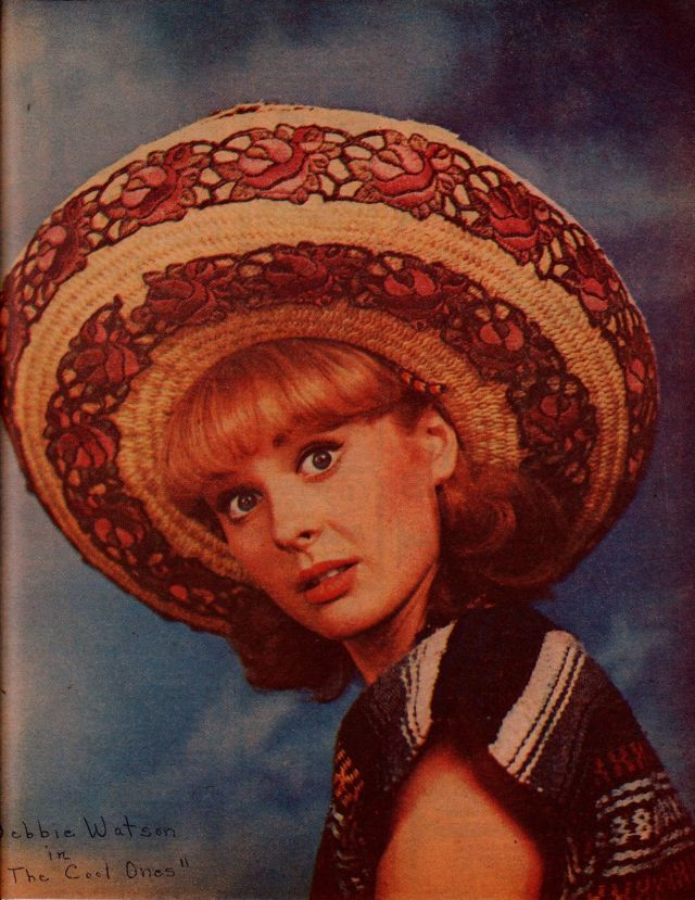 Debbie Watson vintage 1966 color clipping - wonderful, in Mexican sombrero!!!s-l1600