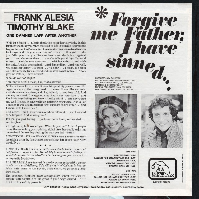 Frank Alesia & Timothy Blake - Forgive Me Father I Have Sinned BACK