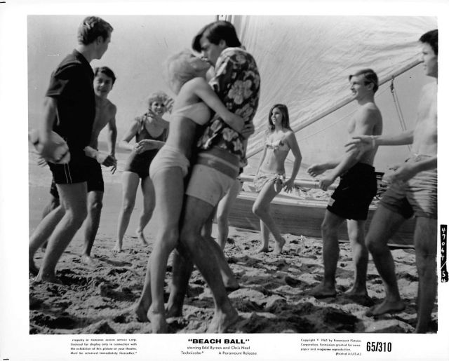 "Beach Ball CHRIS NOEL & EDD BURNS vintage sexy leggy ""Beach Ball"" photo, 1965"