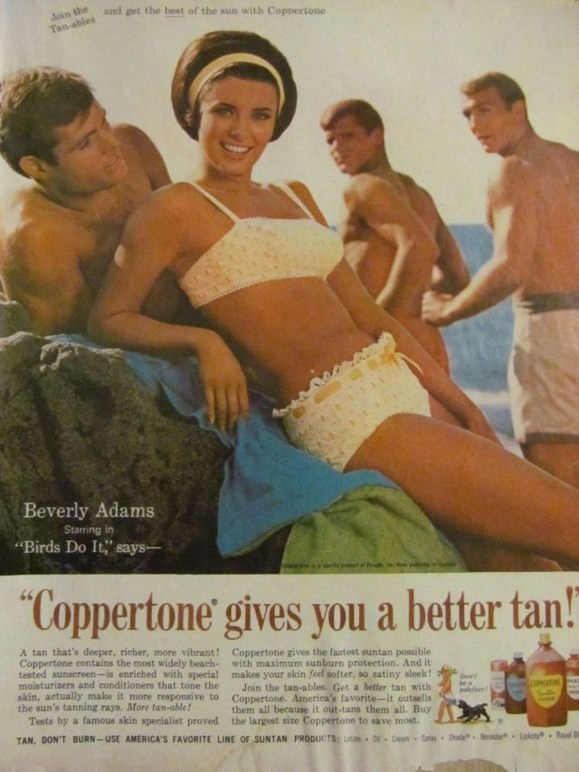 Beverly Adams, Coppertone, Full Page Vintage Print Ad, Bikini