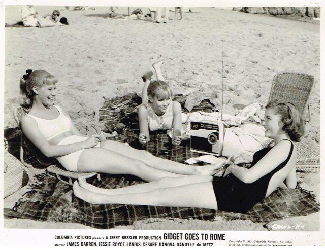 CINDY CAROL & friends sexy leggy bikini beach pinup photo Gidget Goes to Rome