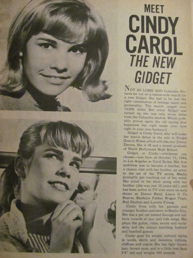 Cindy Carol, Gidget, Full Page Vintage Clipping