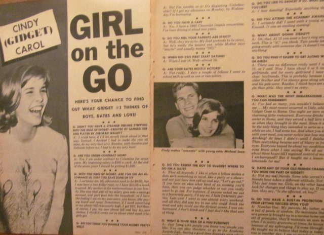 Cindy Carol, Gidget, Two Page Vintage Clipping