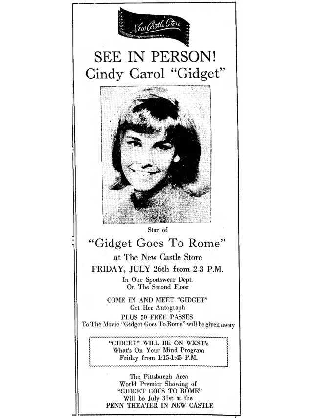 Gidget Goes To Rome New_Castle_News_Thu__Jul_25__1963_