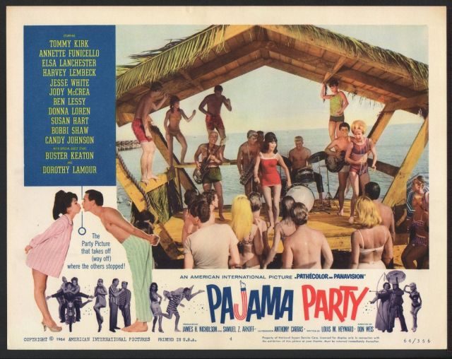 PAJAMA PARTY - 11x14 ORIGINAL LOBBY CARD - 1964 - BIG DANCE SCENE