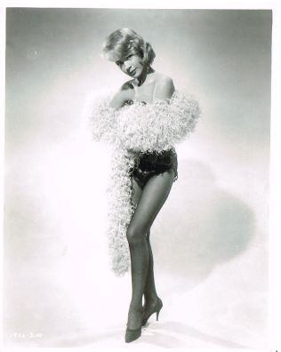 SANDRA DEE vintage sexy leggy 50s pinup - feathers, stockings and underwear