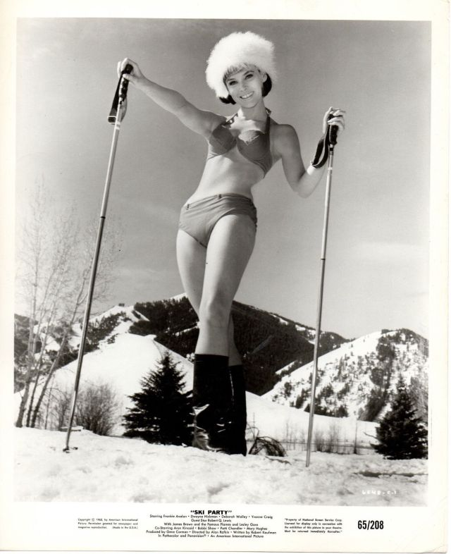 "YVONNE CRAIG 1965 Original B&W Vintage PHOTO - ""Ski Party"" Bunny in Bathing Suit"