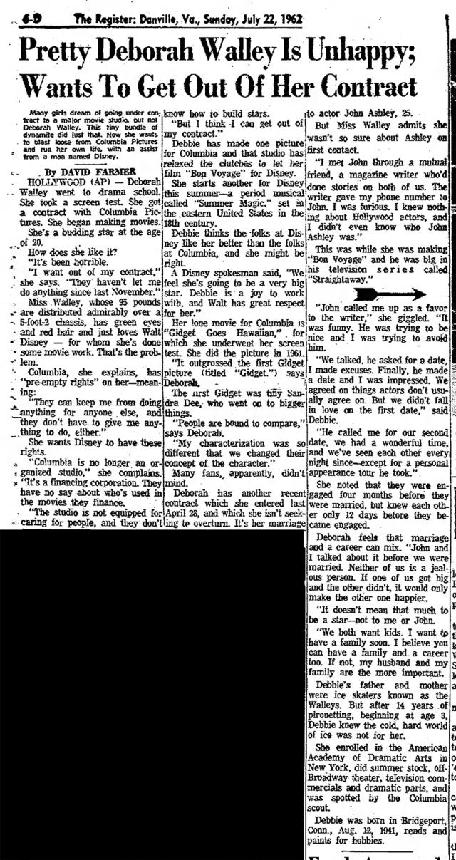 Deborah Walley Is Unhappy-The-Danville-Register-Sun-Jul-22-1962