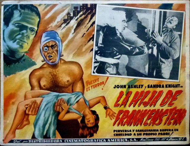 FRANKENSTEIN'S DAUGHTER 1958 Mexican Horror Lobby Card JOHN ASHLEY SANDRA KNIGHT