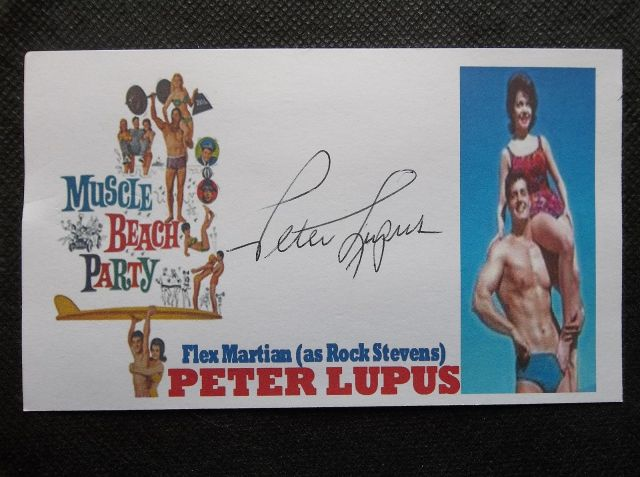 "PETER LUPUS ""MUSCLE BEACH PARTY"" ""ROCK STEVENS"" AUTOGRAPHED 3X5 INCH INDEX CARD"