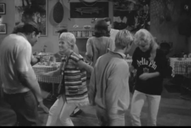 Surf Party (1964): Donna Russell second from left; Johnny fain second from right (back to camera)