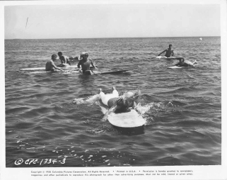 gidget Cliff Robertson on a surfboard